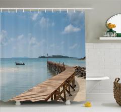Tropikal Ada ve Ahşap İskele Temalı Duş Perdesi Mavi