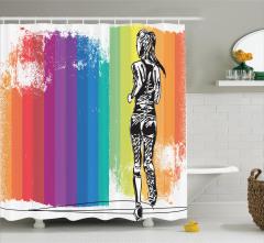 Şeritli Fon ve Koşucu Desenli Duş Perdesi Rengarenk