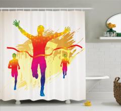 Rengarenk Kurdele ve Koşucu Temalı Duş Perdesi Spor