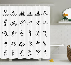 Dekoratif Sporcu Desenli Duş Perdesi Siyah Beyaz