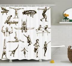 Kara Kalem Sporcu Desenli Duş Perdesi Spor Temalı