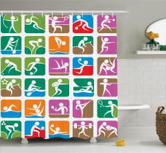 Rengarenk Sporcu Desenli Duş Perdesi Şık Tasarım