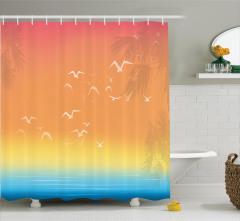 Kuş Palmiye ve Deniz Desenli Duş Perdesi Turuncu