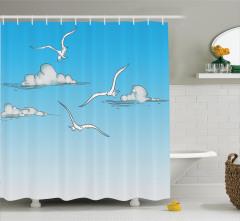 Martı ve Bulut Desenli Duş Perdesi Mavi Gökyüzü