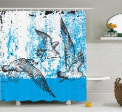 Şık Martı ve Deniz Desenli Duş Perdesi Mavi ve Beyaz
