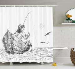Şık Balıkçı ve Tekne Desenli Duş Perdesi Siyah Beyaz