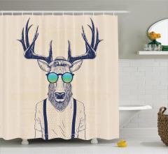 Hippi Geyik Desenli Duş Perdesi Modern Sanat Tasarım