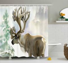 Suluboya Etkili Duş Perdesi Geyik Desenli Pastel