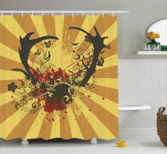Sarı Duş Perdesi Çiçek Geyik Boynuzu Kahverengi