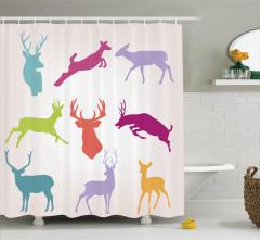 Renkli Geyik Desenli Duş Perdesi Yaban Hayatı Temalı