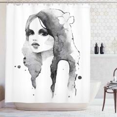 Suluboya Resmi Etkili Duş Perdesi Kadın Portresi