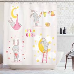 Çocuklar için Duş Perdesi Sevimli Tavşanlı Pembe