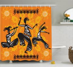 Dans Severler İçin Duş Perdesi Siyah Turuncu Dansçı