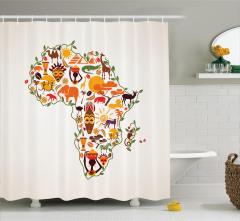 Afrika Haritası Temalı Duş Perdesi Etnik Turuncu Fil