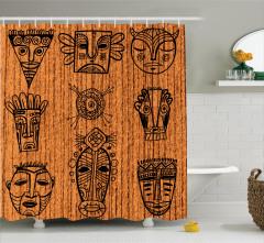 Afrika Maskeleri Temalı Duş Perdesi Kahverengi Etnik