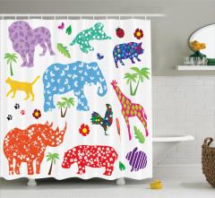 Rengarenk Hayvan Desenli Duş Perdesi Fil Zürafa