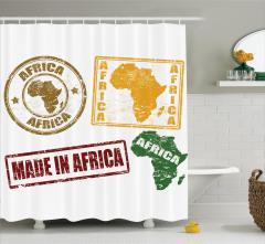 Afrika Temalı Duş Perdesi Harf Baskılı