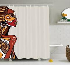 Afrikalı Kadın Desenli Duş Perdesi Etnik Kahverengi