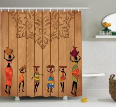 Afrikalı Kadın Desenli Duş Perdesi Kahverengi Ahşap