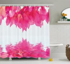 Pembe Begonvil Temalı Duş Perdesi Çiçek Şık Tasarım