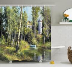 Göl ve Orman Desenli Duş Perdesi Yeşil Beyaz Ağaç Ev