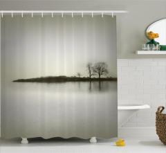 Gri Gökyüzü Temalı Duş Perdesi Ağaç Göl Manzara Sis