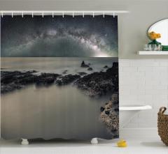 Gökyüzü Temalı Duş Perdesi Gri Deniz Yıldız Galaksi