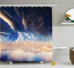 Karlı Dağ Manzaralı Duş Perdesi Gökyüzü Yıldız Bulut