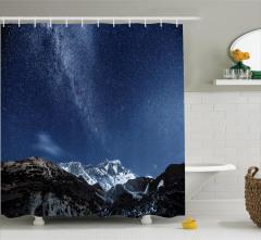 Yıldız ve Dağ Temalı Duş Perdesi Lacivert Gökyüzü