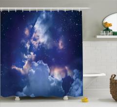 Gökyüzü Temalı Duş Perdesi Lacivert Bulut Yıldız