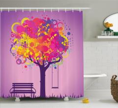 Rengarenk Ağaç Temalı Duş Perdesi Salıncak Mor Bank