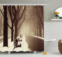 Kış Mevsimi Temalı Duş Perdesi Nostaljik Romantik