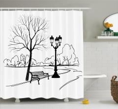 Kara Kalem Etkili Duş Perdesi Siyah Beyaz Sonbahar