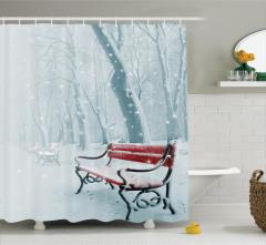 Kış Mevsimi Temalı Duş Perdesi Mavi Romantik Beyaz