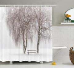 Kış Mevsimi Temalı Duş Perdesi Doğa Ağaçlar Beyaz