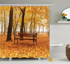 Sonbahar Mevsimi Temalı Duş Perdesi Romantik Doğa