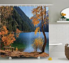 Göl Kenarı Manzaralı Duş Perdesi Orman Yeşil Doğa