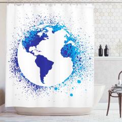 Dünya Haritası Desenli Duş Perdesi Lacivert Beyaz