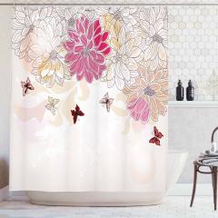 Çiçek Desenli Duş Perdesi Pembe Beyaz Şık Tasarım