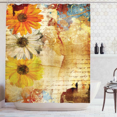 Çiçek Desenli Duş Perdesi Kahverengi Nostaljik Şık