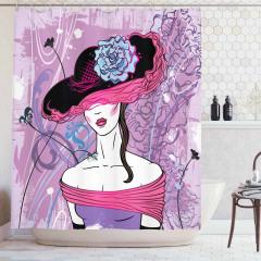 Şapkalı Kız Desenli Duş Perdesi Çiçek Mor Mavi Trend