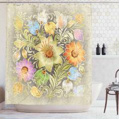 Çiçek Desenli Duş Perdesi Nostaljik Bej Çeyizlik