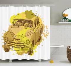 Retro Araba Desenli Duş Perdesi Sarı Şık Tasarım