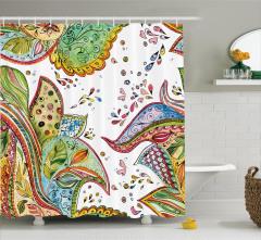 Çiçek Desenli Duş Perdesi Şık Tasarım Süslemeler
