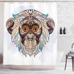 Maymun Desenli Duş Perdesi Afrika Etnik Süslemeleri
