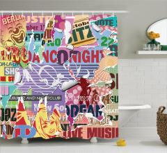 Eski Poster Etkili Duş Perdesi Rengarenk Şık Tasarım