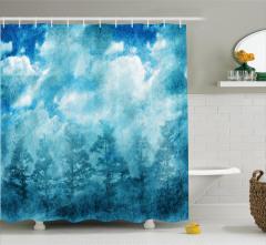 Mavi Duş Perdesi Puslu Orman Temalı Şık Tasarım
