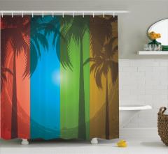 Tropikal Ada Temalı Duş Perdesi Palmiye Ağacı Ombre