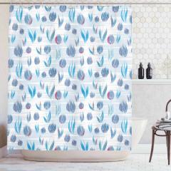 Mavi Duş Perdesi Romantik Lale Desenleri Çeyizlik