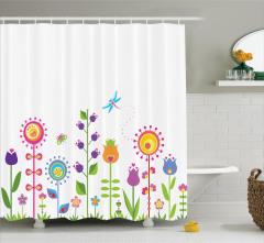 Çocuklar için Duş Perdesi Rengarenk Çiçekler Kelebek